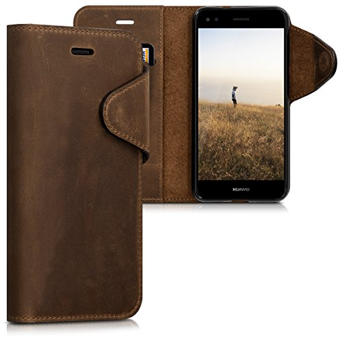 kalibri Huawei Y6 Pro (2017) / Enjoy 7 Hülle - Leder Handyhülle für Huawei Y6 Pro (2017) / Enjoy 7 - Handy Wallet Case Cover