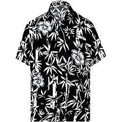 LA LEELA Casual Hawaiana Camisa para Hombre Señores Manga Corta Bolsillo Delantero Surf Palmeras Caballeros Playa Aloha XL-(in cms):121-132 Negro_W345