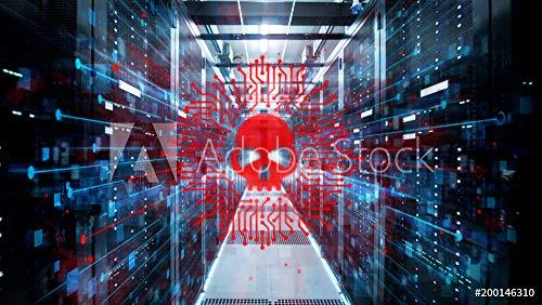 Wunschmotiv: Shot of Corridor in Working Data Center Full of Rack Servers and Supercomputers with High Danger Skull Icon Visualization. #200146310 - Bild auf Leinwand - 3:2 - 60 x 40 cm / 40 x 60 cm