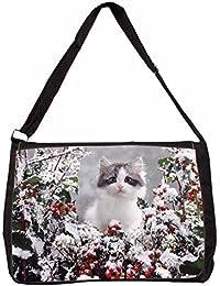 Winter Snow Kitten Large Black Laptop Shoulder Bag Christmas Gift Idea