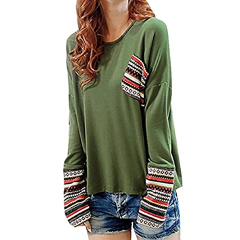 Chemises Femme, FeiTong Manches longues col rond en vrac Blouse de femmes hauts shirt (Vert)