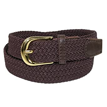 CTM Womens Elastic Braided Stretch Belt, Small, Brown