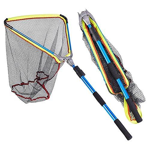 Seasaleshop Angeln Kescher Netz Fischnetz Gummi Beschichtetes Netz Mit Ausziehbarem Teleskopgriff für Größe Fische auch für Teich und Pool by -