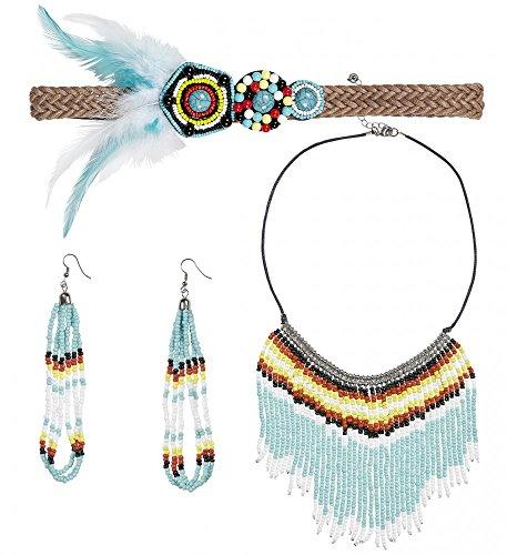 Kostüm Indianer Sets Schmuck (Stirnband, Armband, Ohrringe, Halsschmuck mit Federn und Perlen für Indianerin-Kostüm, Namen: Version)