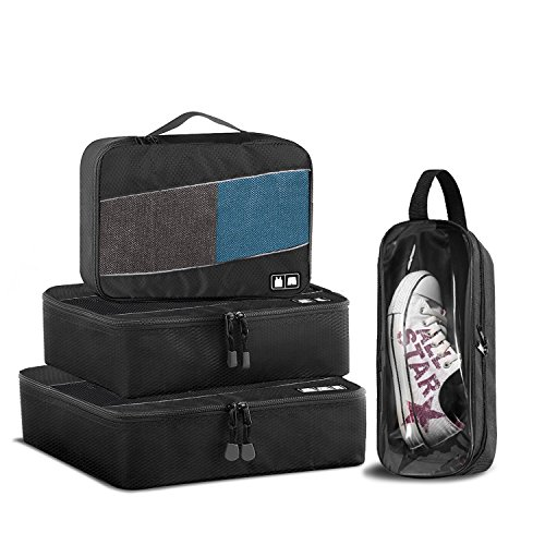 MTURE Kleidertaschen, 4-teilig, 1 geringeGröße, 1 mittelgroße, 1 große Kleidertaschen und 1 Schuhtasche - Schwarz