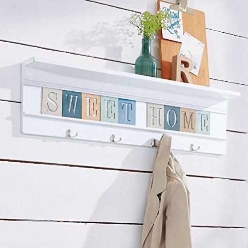 miaVILLA Wandgarderobe Lori - Garderobe mit Ablage - Weiß - ca. B90 x T10 x H24 cm