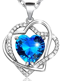 """MARENJA Kristall-Damen Kette mit 3 Herz Anhänger Gravur """"Ich liebe Dich"""" weiß Vergoldet Kristall"""