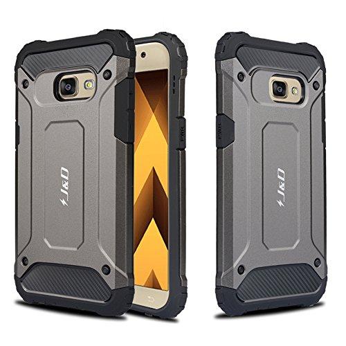 J&D Compatible para Galaxy A5 2017 Funda, [Armadura Delgada] [Doble Capa] [Protección Pesada] Híbrida Resistente Funda Protectora y Robusta para Samsung Galaxy A5 (Release in 2017) - Metálicos Negro