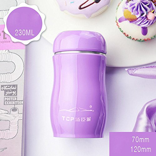 Stainless Steel Belly Cup Candy Series, Doppellagige Vakuumisolierung Kessel, Damen Kinder Thermos, Outdoor Sport Travel Cup 230ml/350ml , purple , 350ml Go Travel-cup-kessel