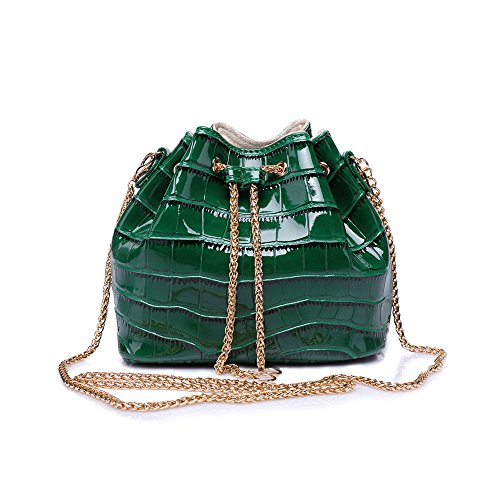 Sheli Donna Fashion in miniatura pu in pelle catena crossbody borsa a secchiello, verde (Green), S