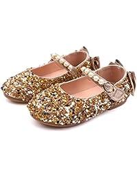 f69fa92252aa8 DressLksnf Fille Sandale Princesse Chaussures a Talon Reine de Neige Belle  avec Pailliettes Nœud Perle à