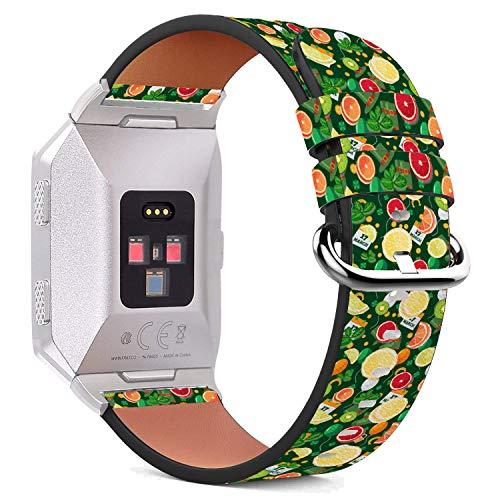 MysticBand Für Fitbit Ionic 44mm / 42mm Armbänder Uhrenarmband Ersatz Lederarmband mit integriertem Armband Adaptors - Gelbe Zitrus Orange - Zitrus-band