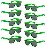 Fsmiling propose des lunettes de soleil 10 paires pour adultes, disponibles en 10 couleurs différentes.   Taille: 142mm cadre large / cadre 48mm / 147mm longueur jambe  Les lunettes sont des lunettes de soleil normales ou fausses balles verres qu...