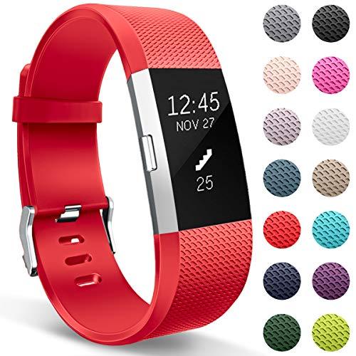 HUMENN Correa para Fitbit Charge 2, Edición Especial Deportes Recambio de Pulseras Ajustable Accesorios para Fitbit Charge 2 Grande Rojo