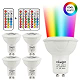GU10 LED Cool White Bulbs 3W RGB Colour Changing Spotlight Bulbs Dimmable with 21 Keys Remote Control RGBW 6000K 20W Halogen Bulbs Equivalent Night Lighting for Home Decoration (4 Pack)