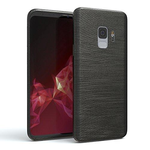 EAZY CASE GmbH Hülle für Samsung Galaxy S9 Schutzhülle Silikon, gebürstet, Slimcover in Edelstahl Optik, Handyhülle, TPU Hülle/Soft Case, Backcover, Silikonhülle Brushed, Anthrazit