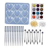 Sitonelectic 1 juego de moldes de resina de silicona - Creative 9 Grid forma de corazón Epoxi molde para bricolaje hecho a mano colgante joyería herramienta