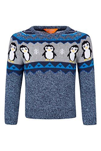 Mountain Warehouse Pull Enfant Garçon Automne Hiver Tricoté Animaux Pingouin Bleu 7-8 ANS