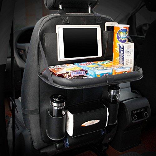 GutReise multi - funktions - pu - leder autositz veranstalter inhaber praktisch multi - taschen autositz hängen beutel mit faltbaren tray - lagerung tasche reisen (schwarz)