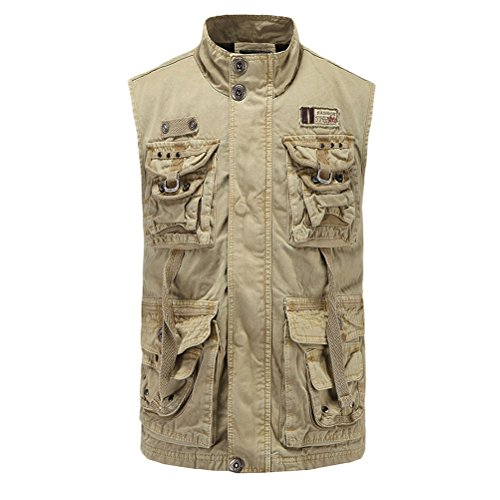 Zhhlinyuan cadeau père High Quality Mens Hiking Mountain Vest Tops Multipocket Casual Waistcoat Stand Collar Kaki