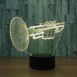 LPY-3D Illusion Bulbing Instrumentos Musicales Lámpara de Escritorio Lámpara de Visualización Lámpara de Óptica de Noche Acrílico Micro USB Mesa 7 Cambio de Color Decoración Lámpara LED