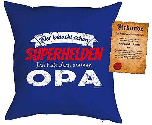 Opa/Kinder/Deko-Kissen inkl. Spaß-Urkunde Thema lustige Sprüche: Wer braucht schon Superhelden Ich hab doch meinen (Themen Superhelden)