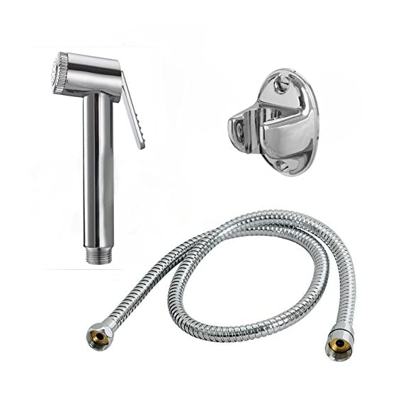 ABS Health Faucet With 1M Flexible Stainless Steel Tube & Wall Hook (Silver)