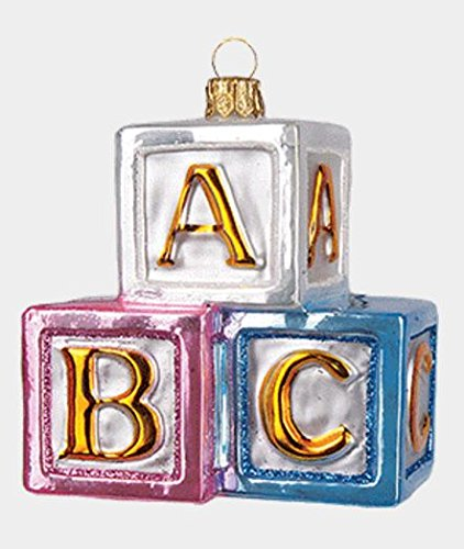 Pinnacle ABC Building Blocks Toy Polish Glass Christmas Ornament Tree Baby Decoration (Trading Company Abc)