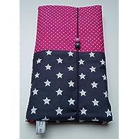 Windeltasche Sterne dunkelgrau - Pünktchen pink