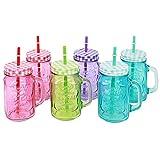 COM-FOUR® 6x Glas mit Strohhalm und Deckel, Trinkgläser in Einmachglas-Optik mit Henkel, 470 ml (06 Stück Mix)