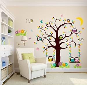 Schnes fantastique hibou et des arbres / arbre de hibou Sticker H 1,36 x L: 01:36 m