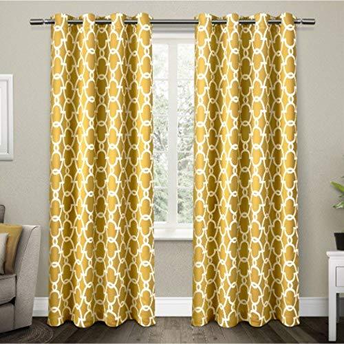 Exclusive home tende gates rasatello tessuto occhielli finestra tenda a pannello oscurante. coppia, prendisole giallo, 52x 108cm, pezzi