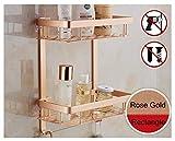 épais adhésif d'angle 2 étages étagère de salle de bain de douche en aluminium de stockage porte-serviettes Panier étagère Organiseur avec crochets Accessoires de salle de bain,rose gold, Rectangle