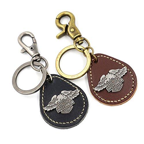 Blisfille Schlüsselanhänger Metalllegierung Paar Schlüsselringe Bronze Silber Vogel Leder Tropfen Adler Schlüsselbund für Männer, Frauen 2PCS Geschenk