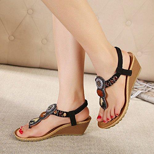 RizaBina Femmes Classique Boheme Sandales Clip Toe Compensees Plateforme Slingback Ete Chaussures Noir