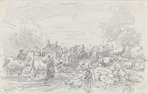 Die Museum Outlet-Herden CROSSING A Stream, 1877-A3Poster