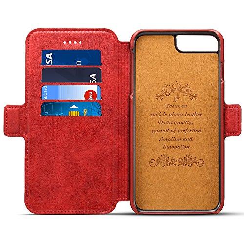 Iphone 6Plus/6sPlus Hülle und Brieftasche ,VENTER® herausnehmbare Schutzhülle, 2 Aufstellmöglichkeiten, Schutz, Hochwertiges Kunstleder, Geschenkverpackung Burgund