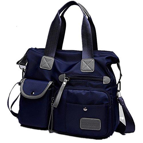 Damen Handtasche Nylon Schultertasche Wasserdichte Shopper tasch Mehrzweck Messenger Bag Blau