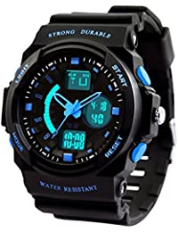 Dictac Montre de Sport Imperméable pour Natation, Montre-bracelet 50M étanche et anti-choc Watch pour Hommes, Femmes et enfants (S, Bleu)