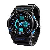 Dictac Digital Armbanduhr 50M Wasserdichte Sportuhr für Schwimmen Dual Display Stoppuhr für Jungen Männer Frauen und Kinder (Klein, Blau)