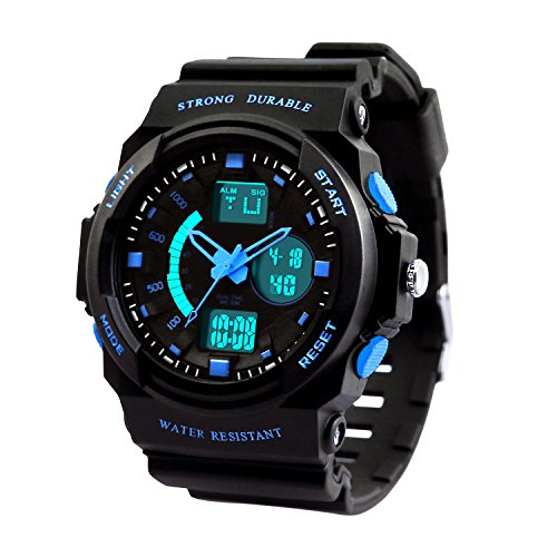 Dictac Waterproof Sports Watch for Swimming, 50M Water-Resistant and Shock-Resistant Wristwatch with Large Face for Men, Women and Children( Model:123188) (Small, Blue)