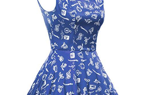 LUOUSE Vintage sans manches Motif classique inspiré ANNÉES 50 Rockabilly Pinup Swing Vintage Robe de Cocktail , Robe de soirée cocktail Bleu
