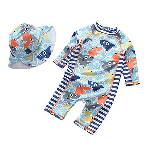 G-Kids Kinder Jungen Badeanzug Bademode Einteiler UV Schützend Schwimmanzug Badebekleidung mit Sonnenhut UPF 50+ (75-90cm)