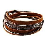 MULBA Bracelet brun en cuir de bracelet de manchette, cadeau d'amitié, bracelet de cordes brun, bracelet d'enveloppe les femmes, les hommes bracelet d'enveloppe SL2338