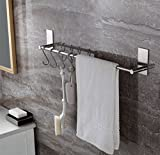 ToHa Selbstklebender Handtuchhalter mit 5 Haken, 40cm Handtuchstange Ohne Bohren gebürstetem Edelstahl. Einfach zu installieren, Wasserdicht, Haftung Starke