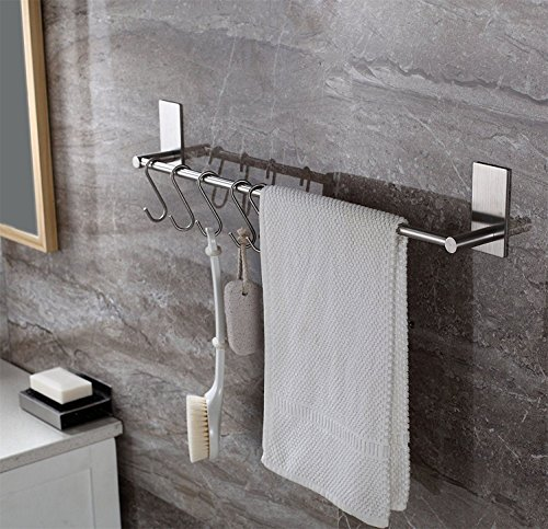 ToHa Handtuchhalter Selbstklebend mit 5 Haken, Handtuchstange Ohne Bohren gebürstetem Edelstahl 55cm (Nickel Badezimmer Handtuchhalter)