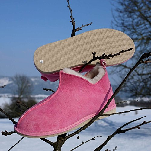 Mocassin Pantoufles En Peau De Mouton Cinderella Rose