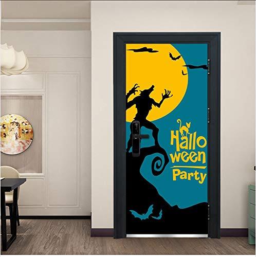 Preisvergleich Produktbild YYKFXL Türtapete Gasse Werwolf Fledermaus Mond Tür Aufkleber,  Festival Wand Tür Aufkleber Dekorative Kinder Schlafzimmer Dekorative Cartoon Aufkleber