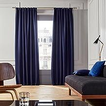 MADURA Cortina con cinta o dormitorio, poliéster, poliéster, azul ocuro, ...