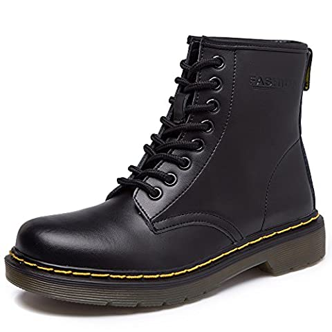 JACKSHIBO Damen Mode Leder Knöchel Boots Winter Kampf Stiefel,Shoe Width:1.5/Normal,Plus samt,Schwarz,EU 40